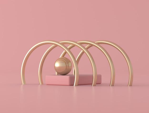 Forme géométrique abstraite, bague dorée sur fond rose, couleurs pastel, style minimal, rendu 3d