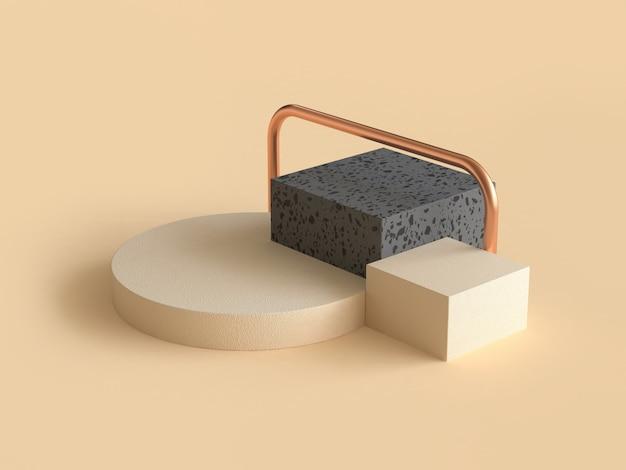 Forme géométrique abstraite crème rendu noir et or 3d