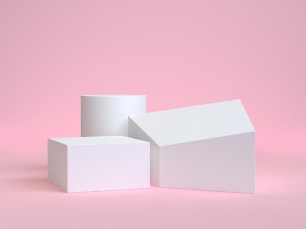 Forme géométrique abstraite rose rendu 3d