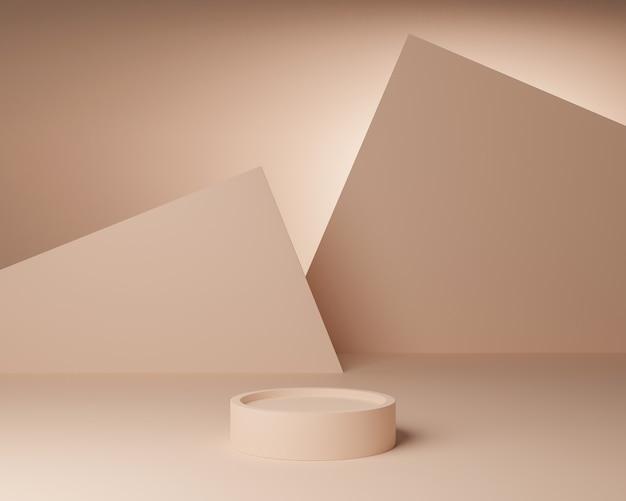 Forme géométrique abstraite avec un style minimal et une couleur pastel.utilisation pour les présentations cosmétiques ou de produits.rendu et illustration 3d.