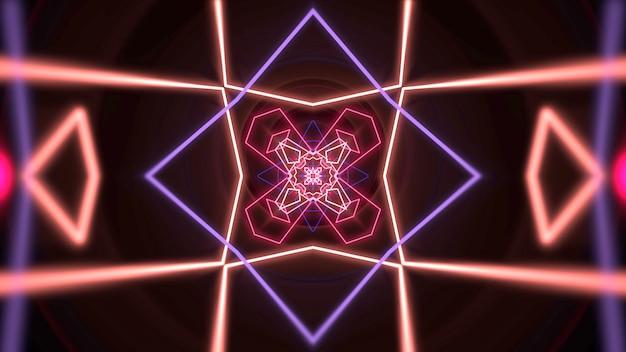Forme géométrique de néon coloré dans l'espace, abstrait. illustration 3d de style club dynamique élégant et luxueux
