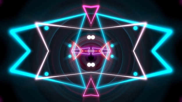 Forme géométrique néon coloré et lignes dans l'espace, fond abstrait. illustration 3d de style club dynamique élégant et luxueux