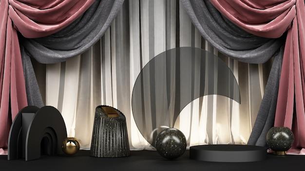 Forme géométrique noire avec matériau en marbre noir et or et rendu de fond en tissu rose
