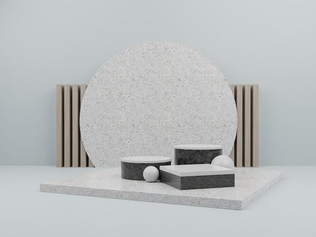 Forme géométrique verte avec podium en marbre pour l'affichage du produit