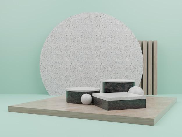 Forme géométrique verte avec podium pour l'affichage du produit