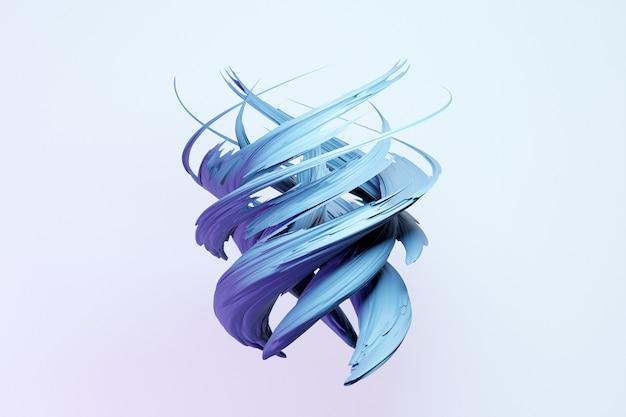 Forme de gouttelette dynamique abstraite avec des objets bleus lisses, côtés sur fond blanc isolé. illustration et rendu 3d. fond de ligne élégant.