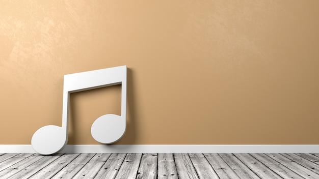 Forme de notes de musique sur un plancher en bois contre le mur