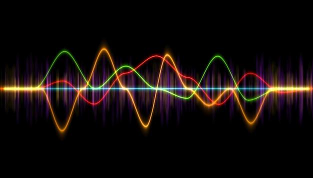 Forme d'onde de lecteur de musique numérique, hud pour la technologie sonore ou barre de syntonisation,