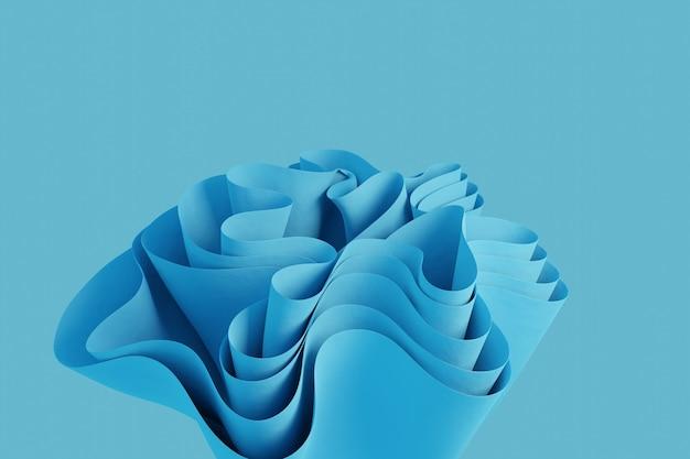 Forme ondulée abstraite de rendu 3d sur un fond bleu clair fond d'écran d'objet 3d créatif