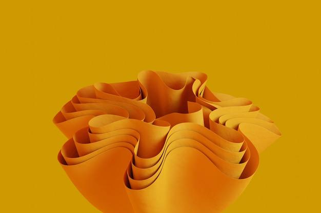 Forme ondulée abstraite de rendu 3d sur fond orange fond d'écran d'objet 3d créatif