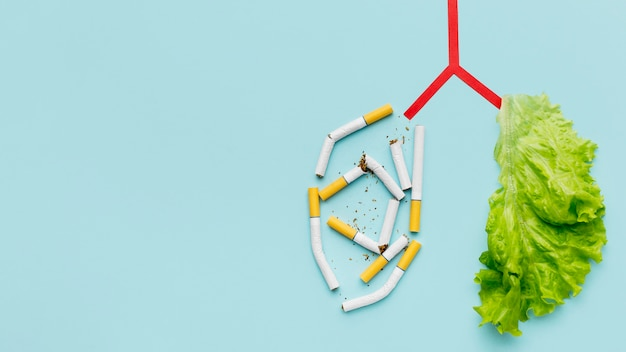 Forme des poumons avec salade et cigarettes et copie-espace