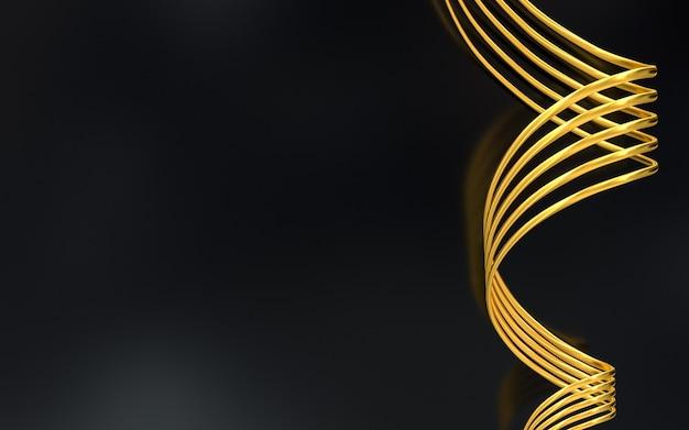 Forme de vague d'or motif géométrique abstrait rendu 3d
