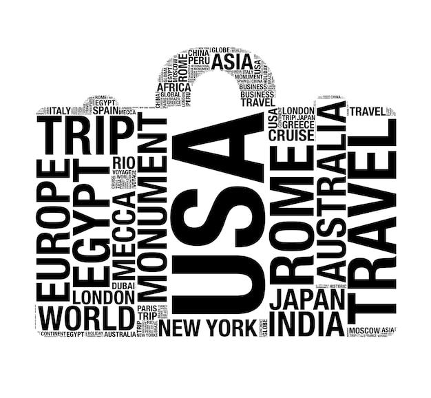 Forme de valise avec des mots de concept de voyage du monde sur un fond blanc. rendu 3d