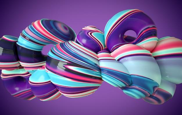 Forme de verre torsadé souple et dynamique coloré, éclaboussures de peinture