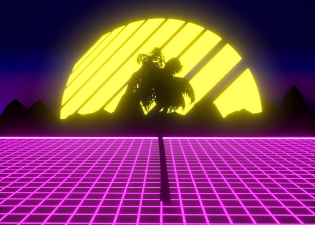 Formes 3d colorées dans le style vaporwave