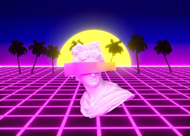 Formes 3d rétro dans le style vaporwave