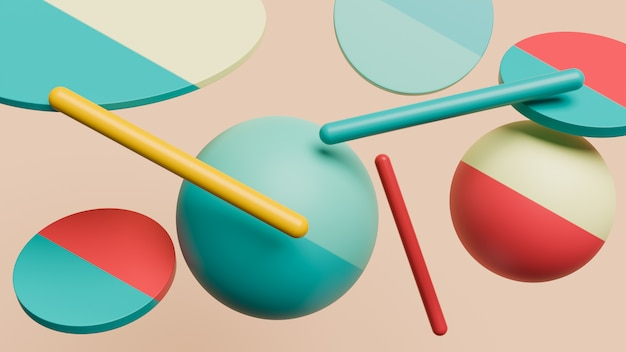 Formes 3d thème abstrait pour les dessins à la mode rendu 3d