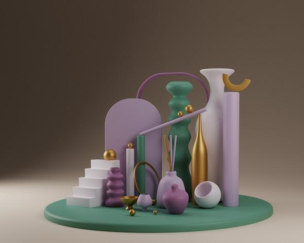 Formes abstraites et composition colorée de vases en vert avec de l'or. illustration de rendu 3d
