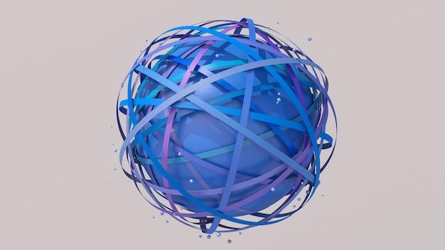 Formes de cercle coloré et rendu 3d de la sphère texturée bleue