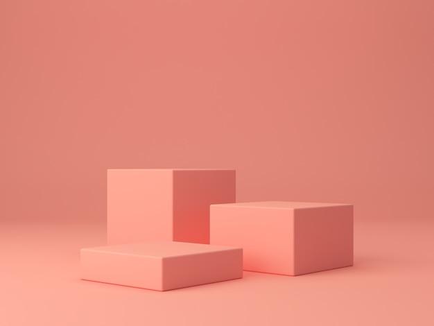 Formes de corail rose sur fond abstrait de corail, boîtes minimales et podium géométrique