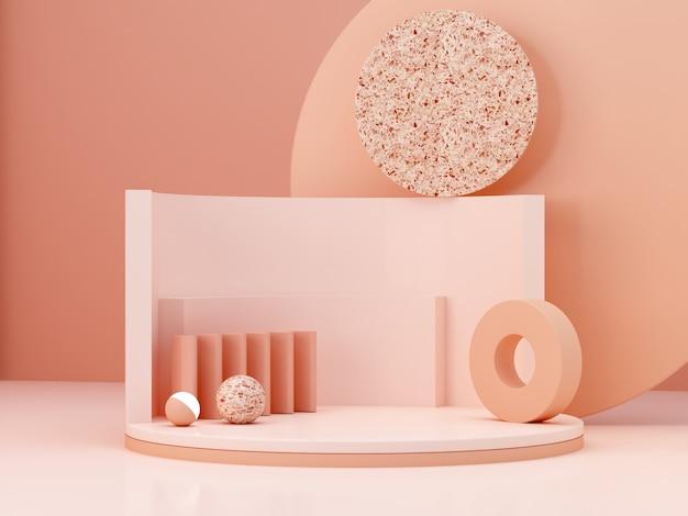 Formes de couleurs crème sur fond abstrait de couleurs pastel. podium cylindrique minimal. scène aux formes géométriques. vitrine vide pour la présentation des produits cosmétiques. magazine de mode. rendu 3d.