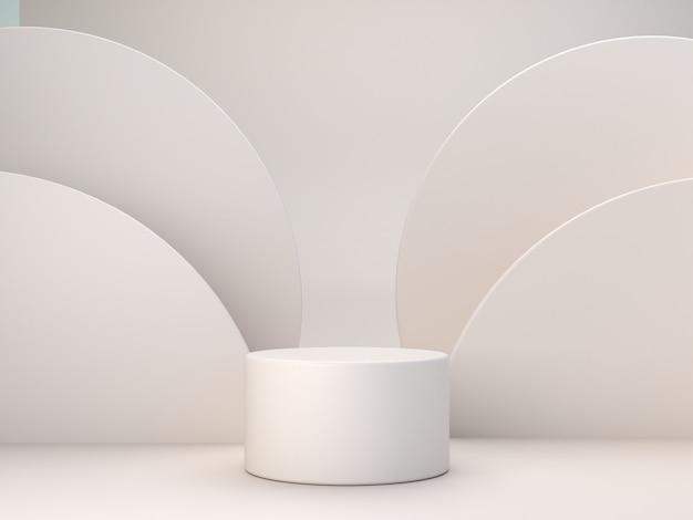 Formes de couleurs pastel sur fond abstrait de couleurs pastel naturelles. podium cylindrique minimal. scène aux formes géométriques. vitrine vide, présentation de produits cosmétiques. magazine de mode. rendu 3d.