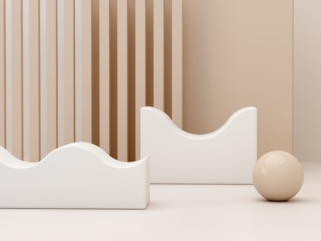 Formes de crème pastel sur fond abstrait