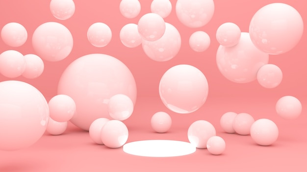 Formes géométriques abstraites fond rose stand d'exposition de produit, vitrine de produit, affichage 3d