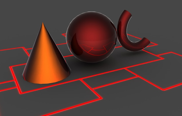 Formes géométriques de base. illustration 3d