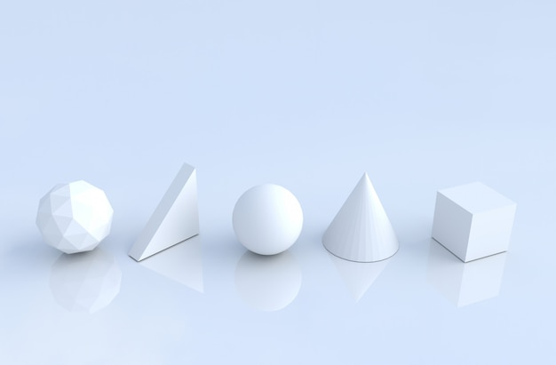 Formes géométriques blanches telles que cône, cube, sphère, triangle, polygone.