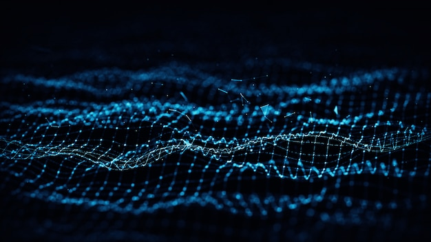 Formes géométriques bleues abstraites de plexus. connexion et concept web.
