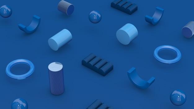 Formes géométriques bleues. concept technologique. illustration abstraite, rendu 3d.
