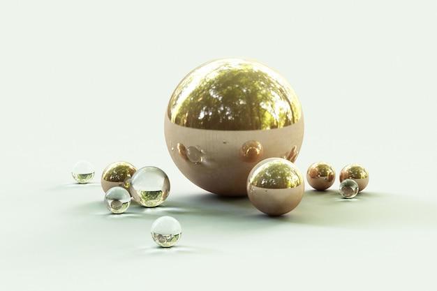 Formes géométriques avec environnement forestier reflétées sur le rendu 3d de la sphère