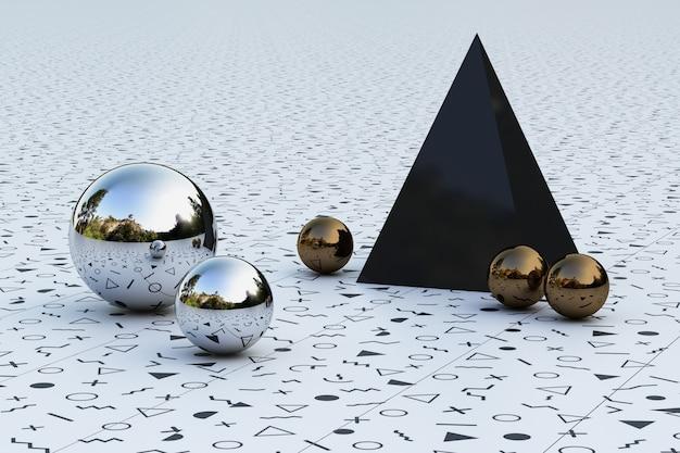 Formes géométriques avec environnement de motif memphis reflété sur le rendu 3d de la sphère