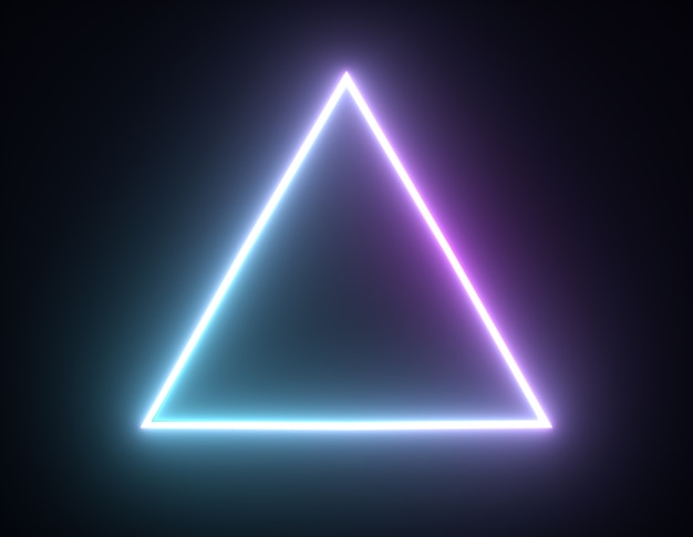 Formes géométriques lumineuses de cadre triangulaire au néon brillant d rendu