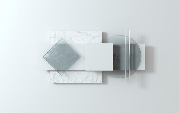 Formes géométriques simples scène mise à plat rendu 3d abstrait affaires