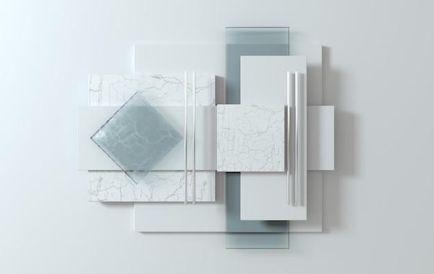 Formes géométriques simples, scène à plat rendu 3d abstrait affaires. couleurs pastel