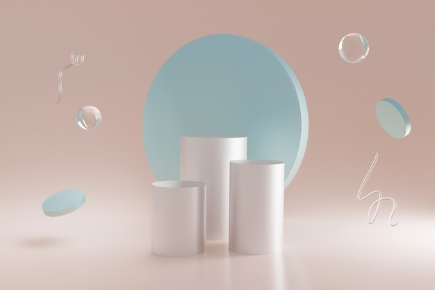 Des formes géométriques en verre néon 3d planent dans le coin de la pièce
