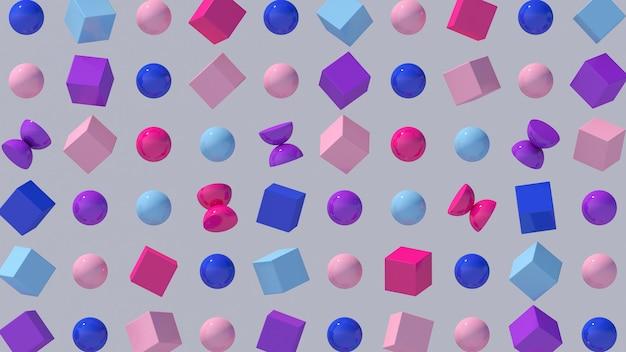 Formes grométriques roses, bleues, violettes. boules, hémisphères et cubes brillants. illustration abstraite,