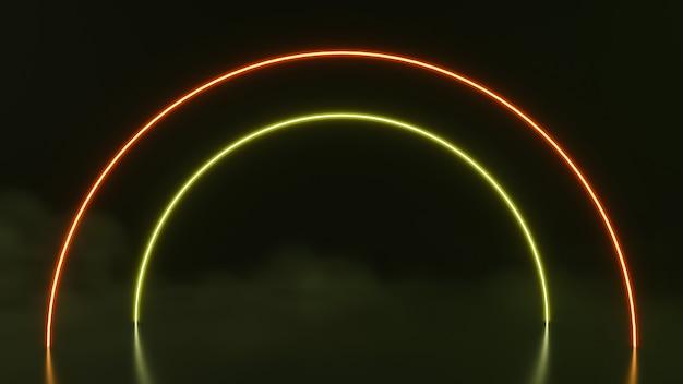 Formes de néon abstraites sci fi futuristes sur fond noir. rendu 3d