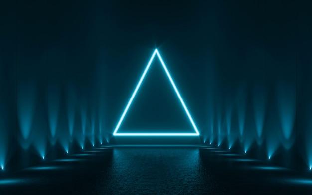 Formes de néon bleu abstrait sur fond noir. rendu 3d
