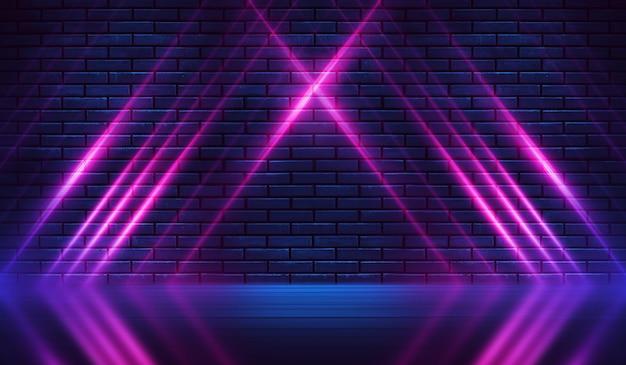 Formes de néon sur un mur de briques sombres. eclairage ultraviolet. mur de briques, sol en béton. illustration 3d