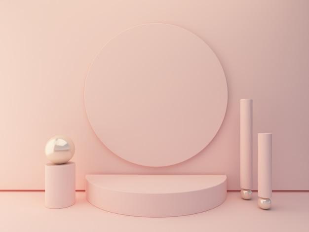 Formes roses sur fond abstrait de couleurs pastel. podium cylindrique minimal. scène avec des formes géométriques pour montrer des produits cosmétiques.