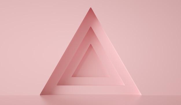 Formes de triangles au mur rose, fond abstrait, rendu 3d