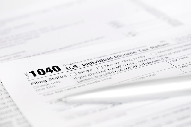 Formulaire américain de déclaration de revenus des particuliers 1040.