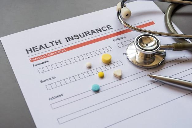 Formulaire d'assurance maladie avec modèle et document de police
