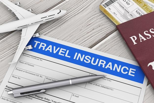 Formulaire d'assurance voyage près du modèle d'avion, du passeport et des billets d'avion sur une table en bois en gros plan extrême. rendu 3d