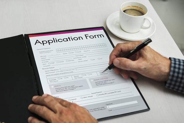Formulaire de demande document page concept