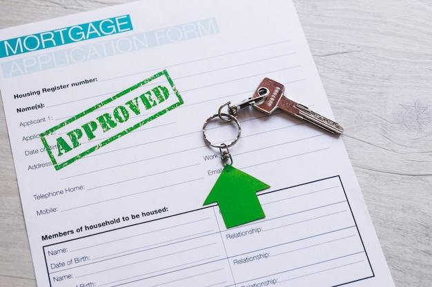 Formulaire de demande dûment rempli pour l'hypothèque