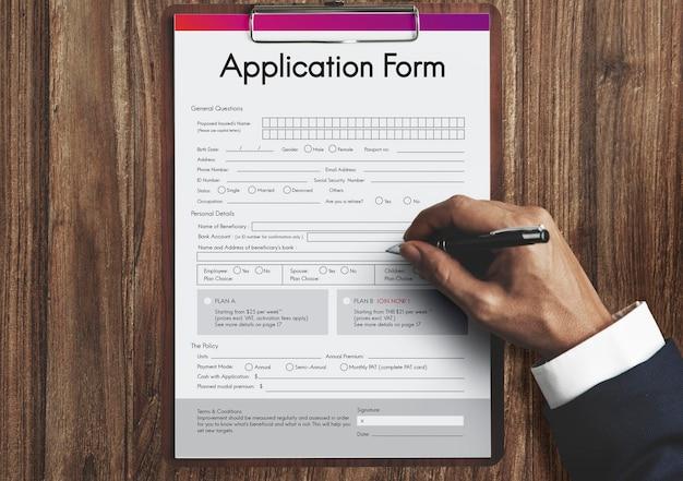 Formulaire de demande d'emploi document concept